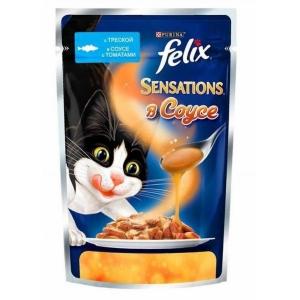 Консервы для кошек Felix Sensations, c треской в соусе с томатами (пауч)(85гр)