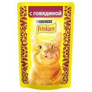 Консервы для кошек Friskies Adult, кусочки говядины в подливе (пауч) (85гр)