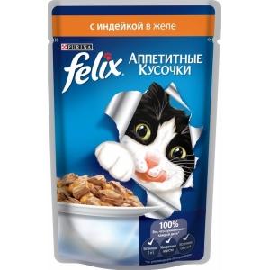 Консервы для кошек Felix Agail, аппетитные кусочки в желе индейка (пауч)(85гр)