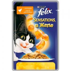 Консервы для кошек Felix Sensations с курицей в желе с морковью (пауч)(85гр)