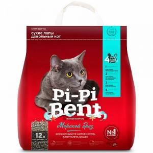 Наполнитель для кошачьего туалета Pi-Pi Bent Морской Бриз комкующийся, крафт пакет