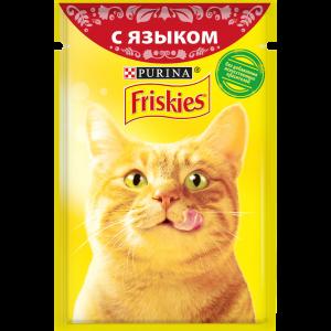 Влажный корм для кошек Friskies Cat с языком в подливе (пауч) (85гр)