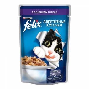 Консервы для кошек Felix Agail, аппетитные кусочки с ягненком (пауч)(85гр)