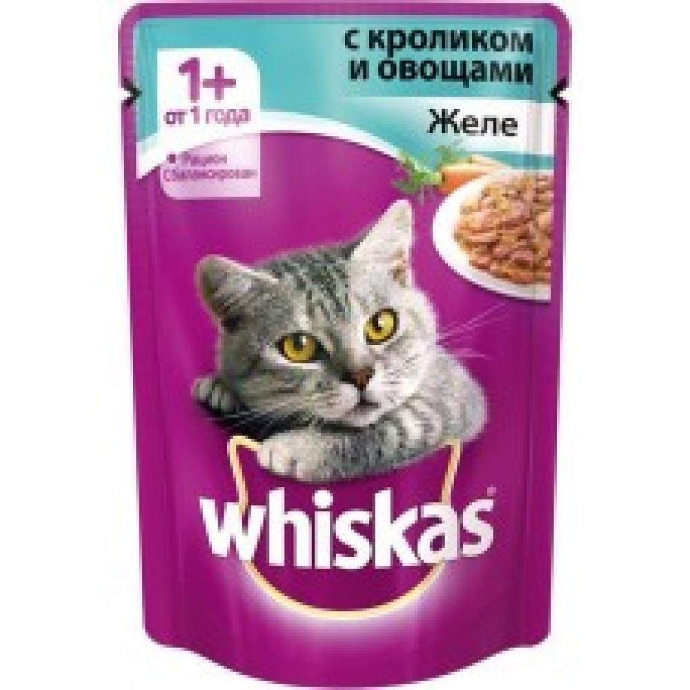 Пауч Вискас для кошек, желе с кроликом и овощами (85г)