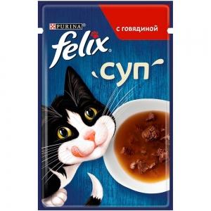 Влажный корм для кошек Felix Soup суп с говядиной (пауч) (48гр)