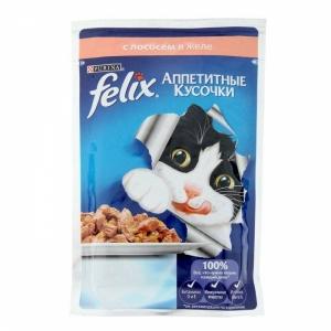 Консервы для кошек Felix Agail, аппетитные кусочки с лососем (пауч)(85гр)