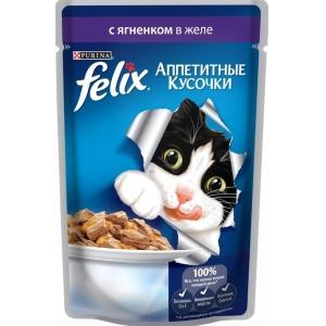 Консервы для кошек Felix Agail, аппетитные кусочки в желе ягненок (пауч)(85гр)