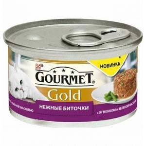 Консервы для кошек Gourmet Gold, Нежные биточки ягненок и фасоль