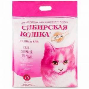 Наполнитель для привередливых кошек Сибирская Кошка Элита силикагель (розовые гранулы)16л