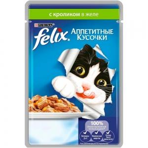 Консервы для кошек Felix Аппетитные кусочки с кроликом в желе (пауч)(85гр)
