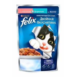 Консервы для кошек Felix Двойной вкус, лосось и форель (пауч)(85гр)