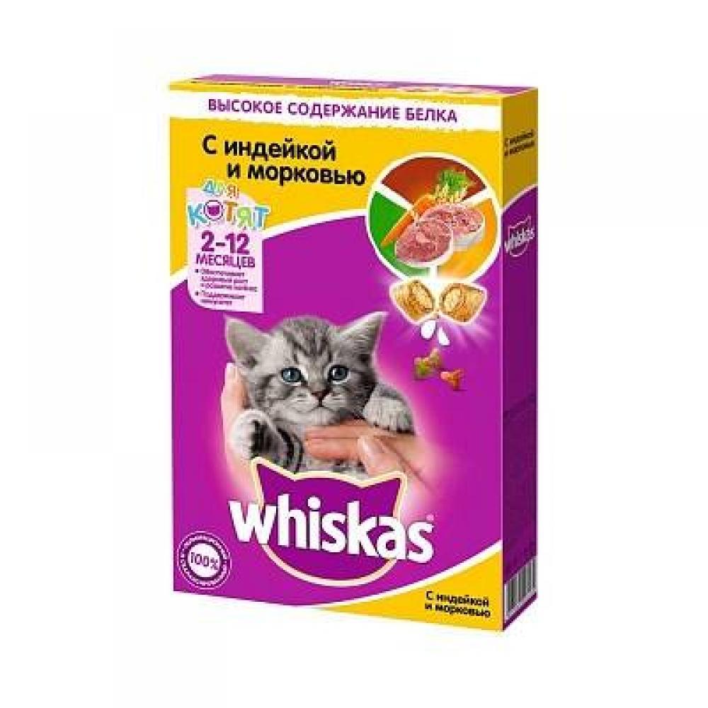 Корм для котят Whiskas подушечки паштет молоко, индейка и морковь