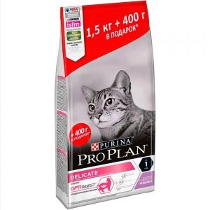 Корм для кошек Purina Pro Plan Delicate с комплексом Optidigest с чувствительным пищеварением и привередливых к еде, с индейкой