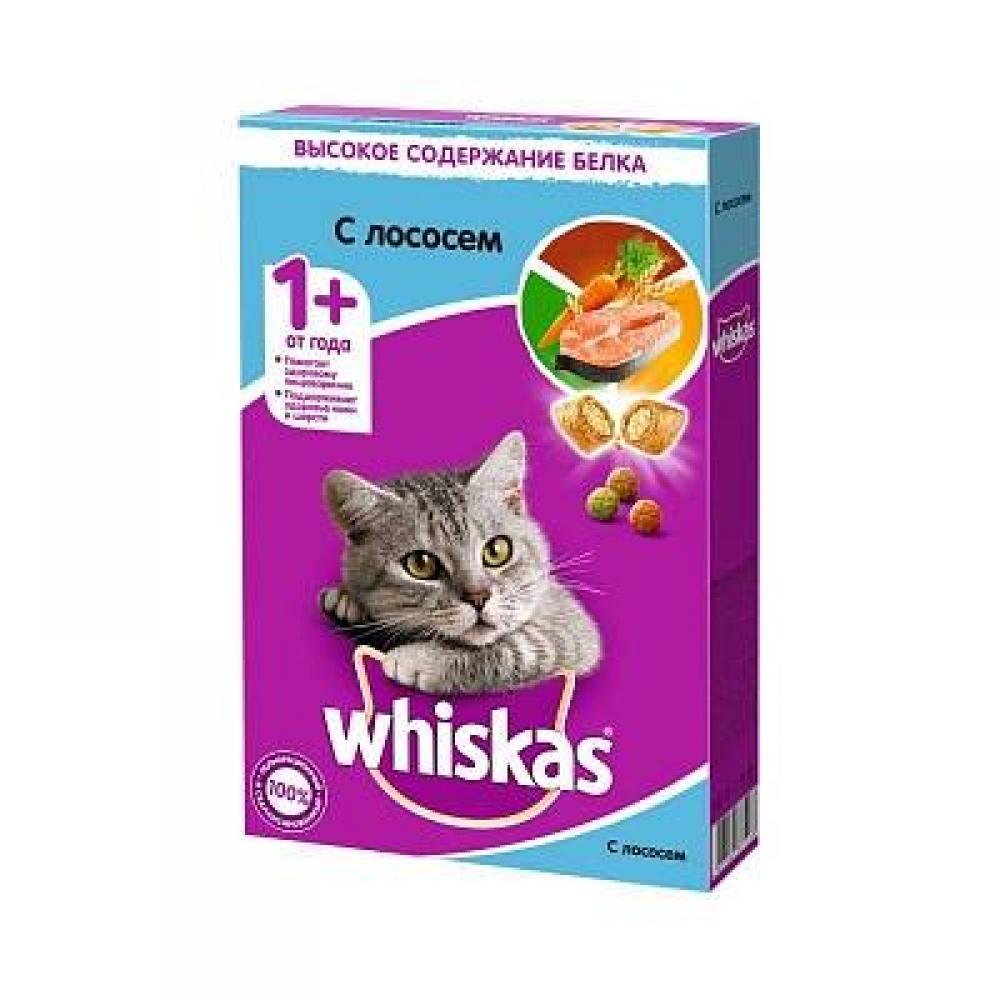 Сухой корм для кошек Whiskas сухие подушечки нежный паштет, лосось