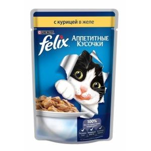 Консервы для кошек Felix Agail, аппетитные кусочки в желе курица (пауч)(85гр)