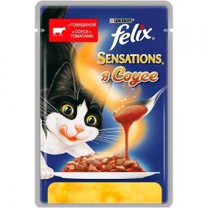 Консервы для кошек Felix Sensations в Удивительном соусе c говядиной и томатами (пауч) (85гр)