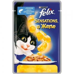 Консервы для кошек Felix Sensations, лосось, треска, кусочки в желе (пауч)(85гр)