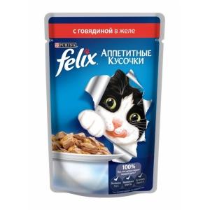Консервы для кошек Felix Agail, аппетитные кусочки в желе говядина (пауч)(85гр)