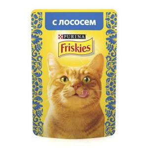 Консервы для кошек Friskies Adult Лосось кусочки в подливе (пауч) (85гр)