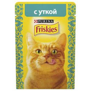 Консервы для кошек Friskies Adult, кусочки утки в подливе (пауч) (85гр)