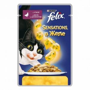 Консервы для кошек Felix Sensations, с уткой в желе со шпинатом (пауч)(85гр)