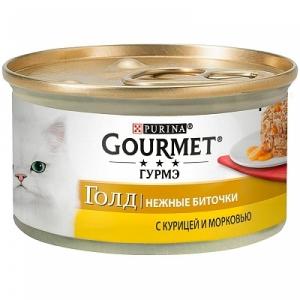 Влажный корм для кошек Gourmet Gold Нежные биточки с курицей и морковью