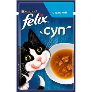 Влажный корм для кошек Felix Soup суп с треской (пауч) (48гр)