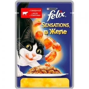 Консервы для кошек Felix Sensations с говядиной в желе с томатами (пауч)(85гр)