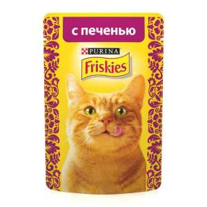 Консервы для кошек Friskies Adult Печень кусочки в подливе (пауч) (85гр)