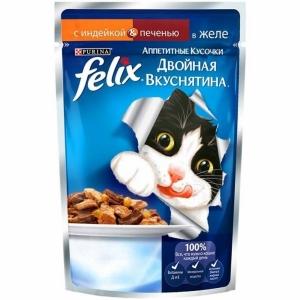 Консервы для кошек Felix Двойной вкус, индейка и печень (пауч)(85гр)