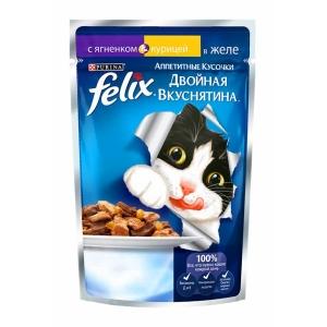 Консервы для кошек Felix Двойной вкус, ягненок и курица (пауч)(85гр)