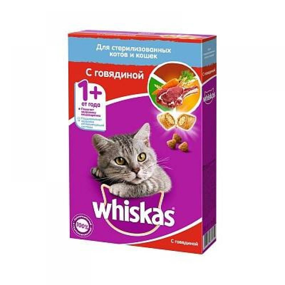 Корм для стерилизованных кошек Whiskas подушечки с говядиной