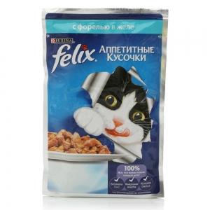 Консервы для кошек Felix Agail, аппетитные кусочки в желе форель (пауч)(85гр)