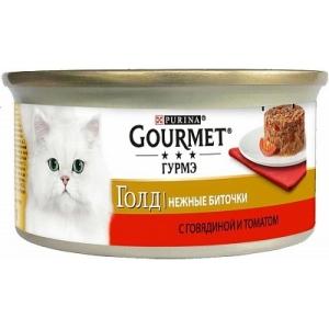 Консервы для кошек Gourmet Gold, нежные биточки с говядиной и томатом