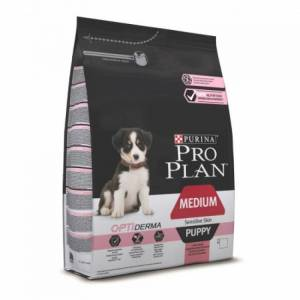 Pro Plan Optiderma сухой корм для щенков средних пород с чувствительной кожей, лосось