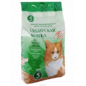 Сибирская кошка наполнитель для кошачьих туалетов, древесные гранулы, Флора, 5л